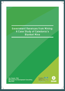 Government Revenues from Mining: A Case Study of Caledonia's Blanket Mine