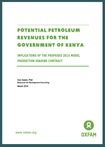 Potential Petroleum Revenues For The Government Of Kenya: Implications Of The Proposed 2015 Model Production Sharing Contract (2016)